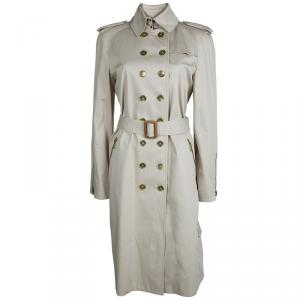 Burberry Beige Cotton Double Breasted Belted Trench Coat M
