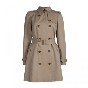 Burberry Beige Cotton Double Breasted Belted Trench Coat S