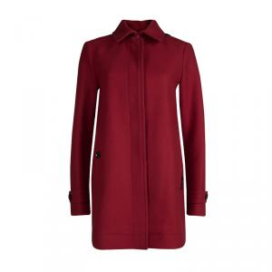 Burberry Red Wool Button Front Coat M