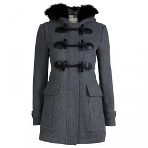 Burberry Brit Grey Wool Fur Trim Coat S