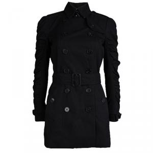 Burberry London Black Cotton Ruched Sleeve Detail Trench Coat S