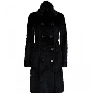 Burberry Prorsum Black Rabbit Fur Overcoat S