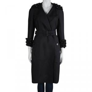 Burberry Black Bead Embellished Belted Trench Coat S