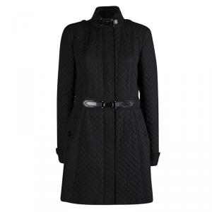 Burberry Black Diamond Quilted Leather Trim Detail Coat M