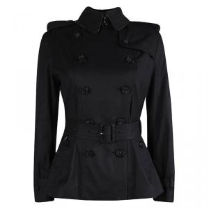 Burberry Black Sandringham Double Breasted Belted Coat S
