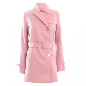 Burberry London Pink Cotton Trench Coat S