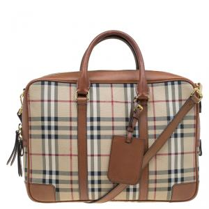 Burberry Beige/Brown Newburgh Canvas and Leather Horseferry Briefcase