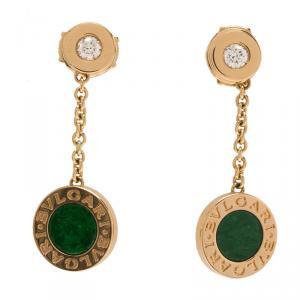 Bvlgari Bvlgari Diamond &  Jadeite Jade Rose Gold Dangle Earrings