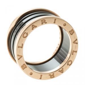Bvlgari B.Zero1 4-Band Black Ceramic Rose Gold Ring Size 54