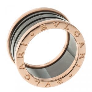 Bvlgari B.Zero1 4-band Ceramic and Rose Gold Ring Size 54