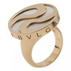Bvlgari Optical Illusion Mother of Pearl Gold Ring Size 54