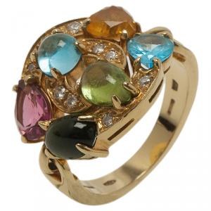 Bvlgari Astrale Colored Gemstones Yellow Gold Ring Size 53