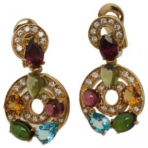 Bvlgari Astrale Colored Gemstones Yellow Gold Earrings