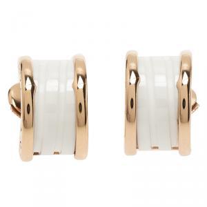Bvlgari B.Zero1 White Ceramic Rose Gold Earrings