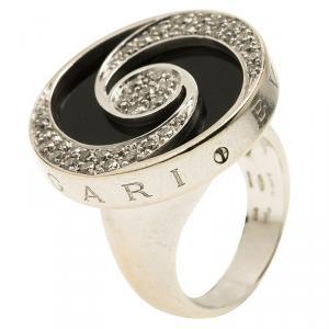 Bvlgari Optical Illusion White Gold and Black Onyx Ring Size 51