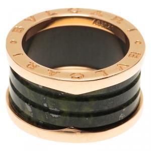 Bvlgari B.Zero1 Rose Gold and Green Marble Ring Size 53
