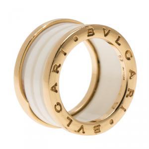 Bvlgari B.Zero1 4-Band White Ceramic Rose Gold Ring Size 53