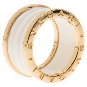 Bvlgari B.Zero1 White Ceramic Rose Gold Band Ring Size 54