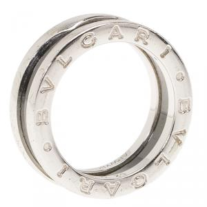 Bvlgari Save the Children 1-Band Black Ceramic Silver Ring Size 52