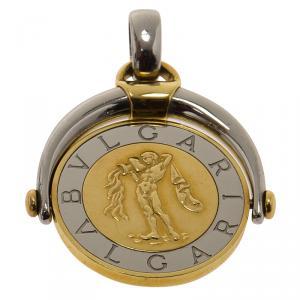 Bvlgari Bvlgari Stainless Steel 18k Yellow Gold Aquarius Zodiac Flip Medallion Pendant