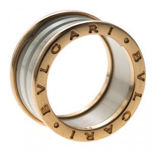 Bvlgari B.Zero1 4-Band White Ceramic Rose Gold Ring Size 55