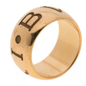 Bvlgari Monologo 18k Rose Gold Band Ring Size 52