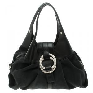 Bvlgari Black Fabric and Leather Chandra Hobo