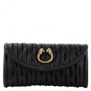 Bvlgari Black Pleated Leather Leoni Clutch