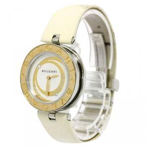 Bvlgari White Rose Gold and Stainless Steel B-Zero1 Women's Wristwatch 30MM
