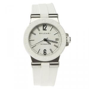 Bvlgari White Stainless Steel & Rubber Diagono DG 35 SV Women's Wristwatch 35MM
