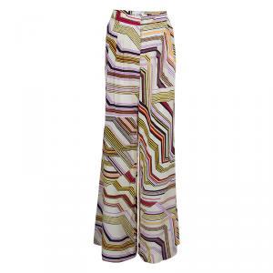 Carolina Herrera Multicolor Geometric Print Wide Leg Silk Pants  M