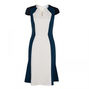 Carolina Herrera Colorblock Cap Sleeve Dress M