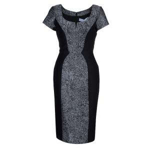 Carolina Herrera Black Contrast Hourglass Panel Detail Short Sleeve Dress M