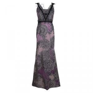 Carolina Herrera Purple Floral Corded Embellishment Detail Silk Gown L