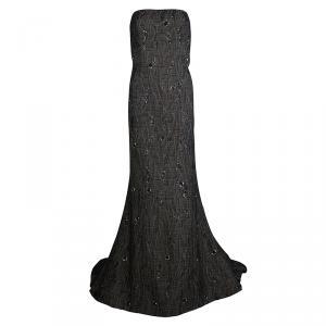 Carolina Herrera Brown Cloque Embellished Strapless Gown L