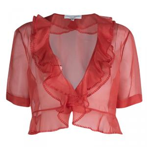 Carolina Herrera Red Organza Ruffle Detail Sheer Bolero Jacket XL