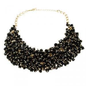 CH Carolina Herrera Black Beads Gold Tone Necklace