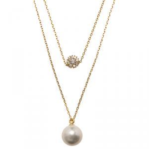 CH Carolina Herrera Faux Pearl Gold Tone Double Chain Necklace