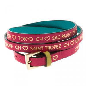 Carolina Herrera Pink Leather Gold Tone Wrap Bracelet