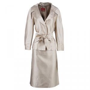 Carolina Herrera Beige Silk Skirt Suit L