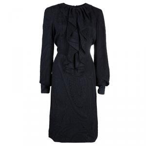Carolina Herrera Black Ruffle Neck Dress M