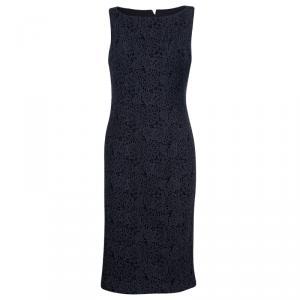 Carolina Herrera Grey Lace Sheath Dress L