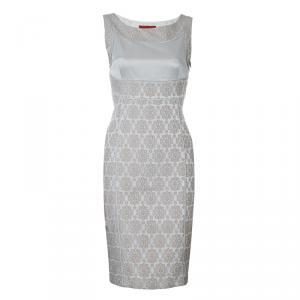 Carolina Herrera Beige Embroidered Sleeveless Dress S