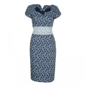 Carolina Herrera Blue and White Jacquard Cap Sleeve Dress M
