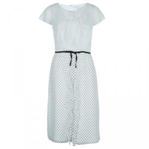 Carolina Herrera White Polka Dot Pintucked Ruffle Detail Cap Sleeve Dress M