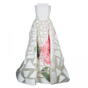 Carolina Herrera Geometric Printed Foam Applique Strapless Wedding Gown S