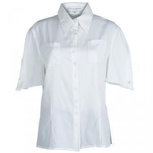 Carolina Herrera White Textured Cotton Cutout Back Detail Short Sleeve Shirt XL