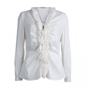 Carolina Herrera White Ruffle Detail Long Sleeve Top L