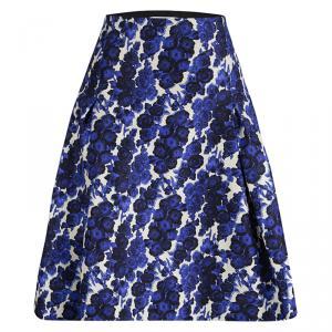 Carolina Herrera Blue Silk Floral Printed Box Pleat Skirt XL