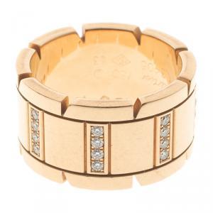 Cartier Tank Francaise Diamond & 18k Yellow Gold Ring Size 53
